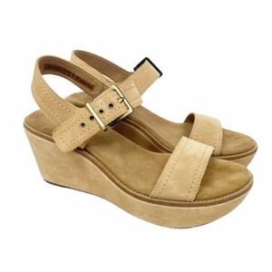 Clarks Aisley orchid tan leather platform wedges
